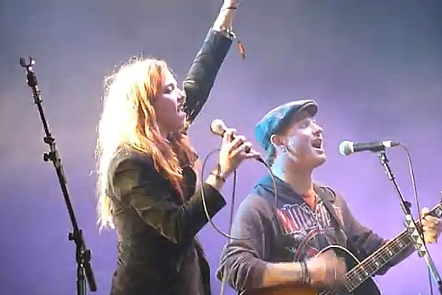 Lzzy Hale and Corey Taylor