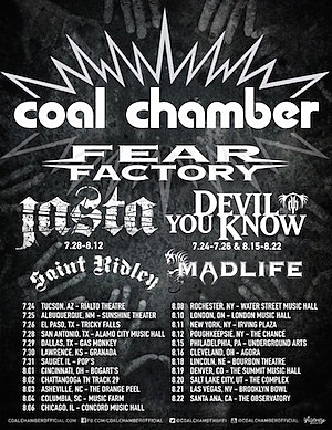 coal chamber fear factory to embark on summer 2015 tour. Black Bedroom Furniture Sets. Home Design Ideas