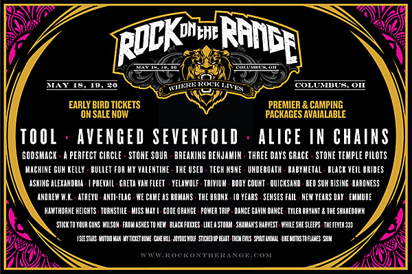 rock on the range 2018 lineup announce tickets on sale now. Black Bedroom Furniture Sets. Home Design Ideas