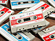 Vintage audio cassettes on wooden background, mix tape label, 3d illustration