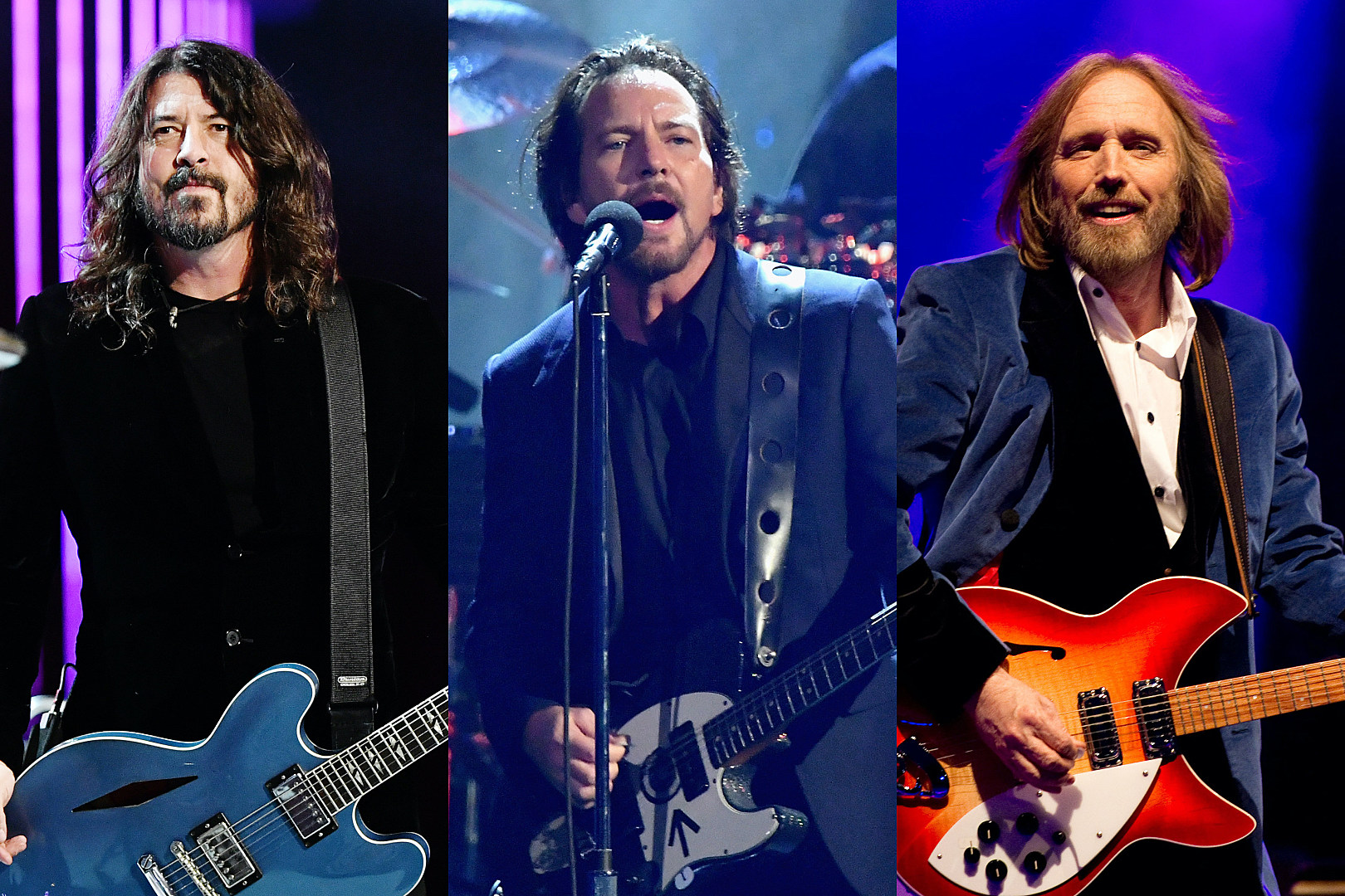 Pictured (L-R): Musicians Dave Grohl of Foo Fighters, Eddie Vedder of Pearl Jam and Tom Petty of Tom Petty and the Heartbreakers