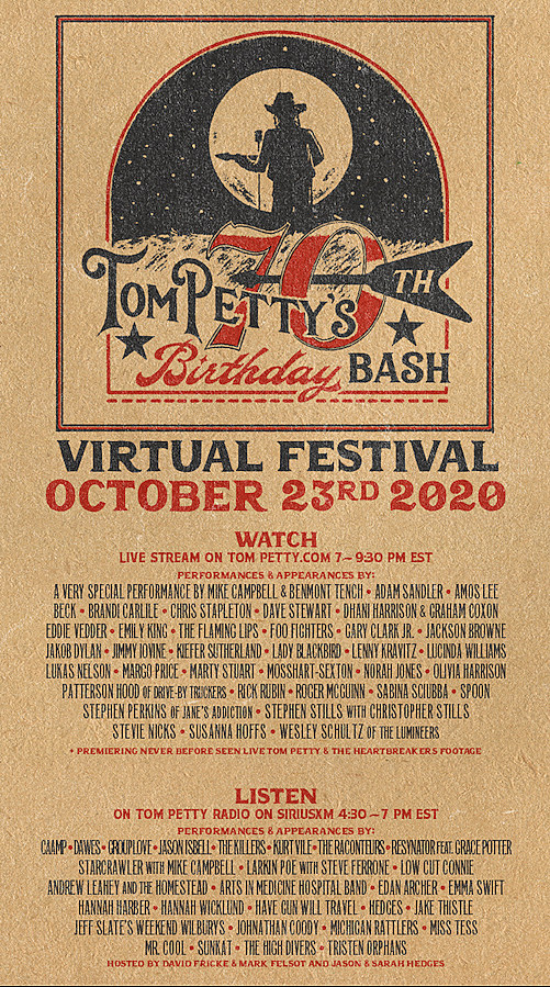 This is the admat for Tom Petty's 70th Birthday Bash virtual internet/radio festival.